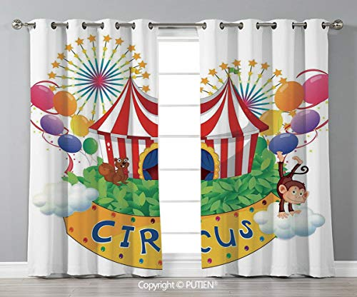 Grommet Blackout Window Curtains Drapes [ Circus Decor,Carnival with a Circus Signboard Cirque Leaves Plants Fireworks Monkey, for Living Room Bedroom Dorm Room Classroom Kitchen Cafe