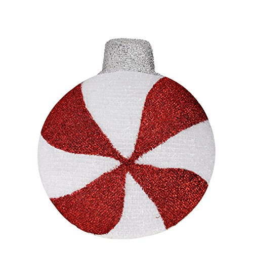 Northlight LED Lighted Peppermint Twist Red and White Tinsel Candy Hanging Christmas Wall Decoration Ornament, 17.25