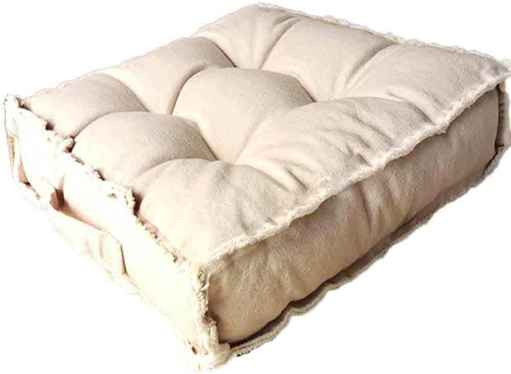 Square Thick Floor Seating Cushions,Solid Thick Tufted Cushion Meditation Pillow for Sitting on Floor, Tatami Pad for Guests or Kids Reading Nook,Yoga Living Room Sofa Balcony Outdoor(Beige): Kitchen & Dining