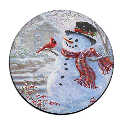 (Jianyue Red Cardinal Christmas Birds Snowman Doormats,Round Rug Entrance Entry Front Door Mat,Office Rugs,Indoor Outdoor Decor Decorative,Floor Mat,Non Slip Soft Absorbent Bathroom)