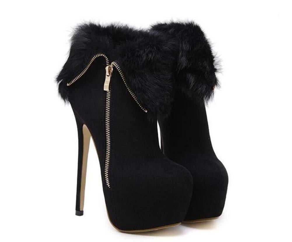 16cm stiletto 5.5cm plataforma gruesa de tacones altos Martin botas vestido botas de las mujeres de moda punta dedo del pie de metal zipper partido zapatos de la UE tamaño 34-40 ( Color : Black , Size : 38 ) 38|Black
