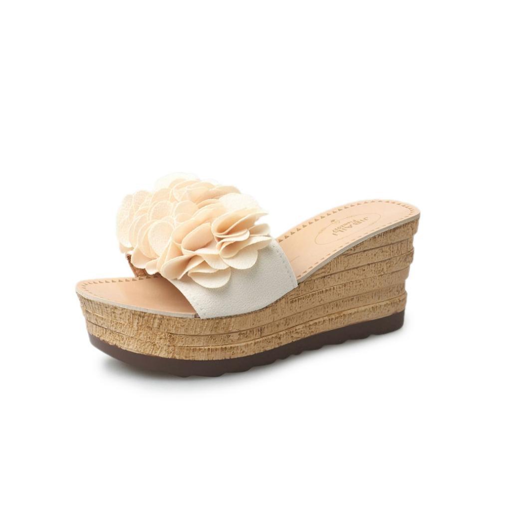 SOMESUN Sandali Pantofole da Donna Moda Impermeabili della Piattaforma Floreale di Cuoio Artificiale di Estate Che Traspirano Pattini Pistoni dei Sandali con Zeppa Morbidi E Leggeri Beige