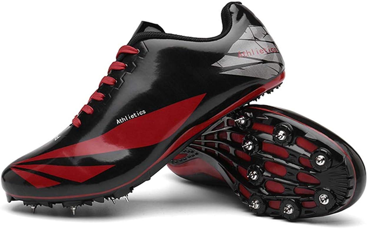 Mofeng - Zapatillas de Deporte Unisex para Correr y Campo, Resistentes al Desgaste, con Pinchos de Cross Country, Profesionales, para competición, con Triple Salto, Color Negro y Rojo -36: Amazon.es: Zapatos y