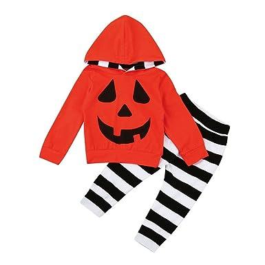 a864b50eaa1b Baby Halloween Outfits Set Infant Boy Girls Pumpkin Striped Hooded Blouse  +Stripe Pants (0