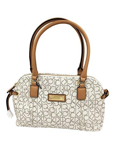 Calvin Klein Monogram Satchel Bag Handbag Purse Almond / Khaki / Camel (Www Calvin Klein)