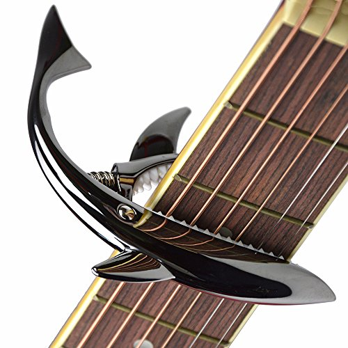 (Shark Capo,Zinc Alloy Tone Clip for Acoustic,Folk,Electric Guitar and Ukulele (Black))