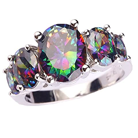 Psiroy Created Rainbow Topaz Gemstone 5-Stone Half Eternity Stacking Ring Band for Women (Rings Cheap Silver)
