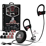 Superbuds wireless bluetooth sport Headphones, Secure In-ear comfort Fit sweatproof Earbuds, iphone android 4.1 compatible headset, hands-free calling, noise cancelling quality sound with built-in Mic