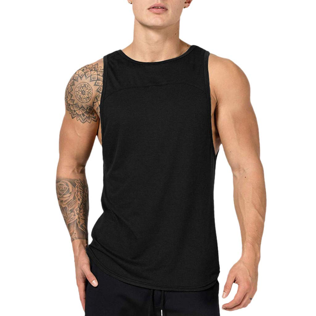 Seaintheson Mens Tank Tops, Men's Muscle Gym Workout Vest Top Bodybuilding Fitness T-Shirts Sleeveless Athletic Tee Black
