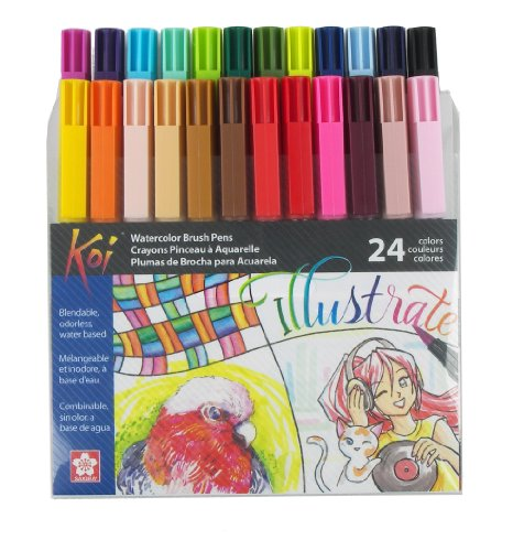 Price comparison product image Sakura XBR-24SA 24-Piece Koi Assorted Coloring Brush Pen Set