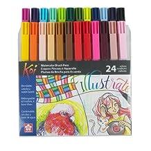 Koi Sakura XBR-24SA Assorted Coloring Brush Pen Set, Multicolor, 24-Piece
