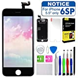 Screen Replacement iPhone 6S Plus 5.5inch,Tokmali LCD Display Touch Screen Digitizer Frame Full Assembly,Complete 9 Pcs Repair Tools Kit Screen Protector (Black)