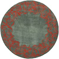 Safavieh Bella Collection BEL350A Handmade Blue and Coral Premium Wool Round Area Rug (5 Diameter)