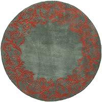 Safavieh Bella Collection BEL350A Handmade Blue and Coral Premium Wool Round Area Rug (5 Diameter)