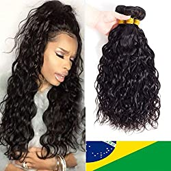 10A Brazilian Virgin Natural Wave Hair 3 Bundles Remy Virgin Water Wave Human Hair Ocean Wave Bundles Natural Color (14 16 18)