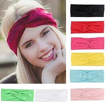 Amazon.com   Yeshan Women and Girls Stretchable Criss Cross Twist Headband Head  wrap Bandana Turban Sweat Wicking Headwear for Workout Running Yoga and ... 8ca9d5220c0