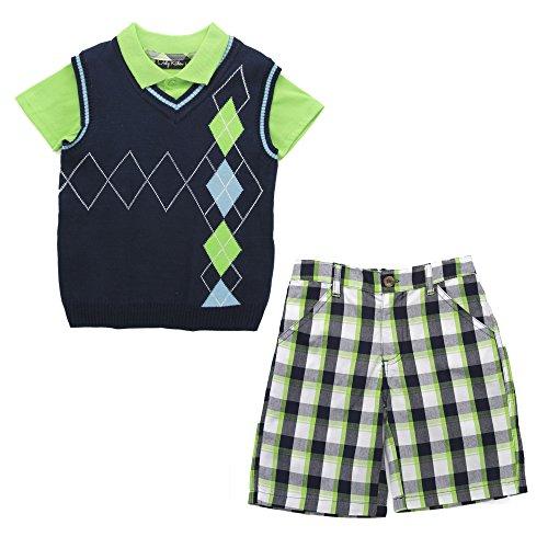 [Boys Three Piece Polo, V Neck Sweater Vest and Shorts Set, Green/Blue Argyle/Green-Blue Plaid, 3T] (Argyle V-neck Vest)