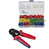 Hexagonal Crimper with 700 Piece Ferrule Wire Connector Set -Self Adjusting Crimping Plier - 22-10 AWG, 0.25mm-6mm - by Gee Gadgets