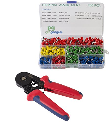 Square Crimper with 700 Piece Ferrule Wire Connector Set -Self Adjusting Crimping Plier - 22-10 AWG, 0.25mm-6mm - by Gee - Crimper Square