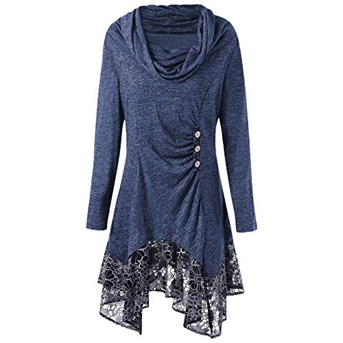 Hotcl Christmas Women Plus Size Winter Sweater Solid Pullover Ruched Long Foldover Collar Tunic Long Sweatshirt Top Blouse (D_Blue, XL)