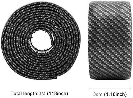 普遍的な車のドアしきい値装飾ストリップ装飾的なステッカー、サイズ:3CM x 3M(ブラック) ハイクオリティ (色 : Black)