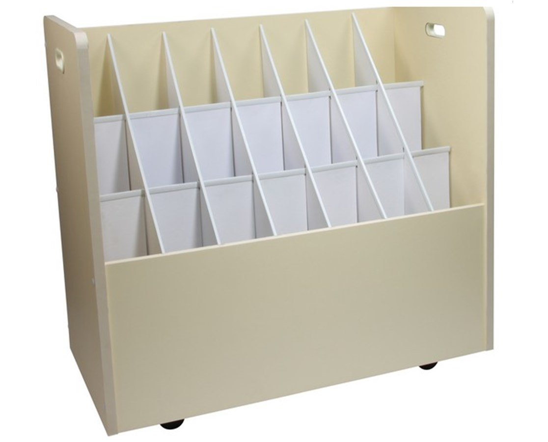 Adir Wood Mobile Document Roll File Cabinet with 50 Compartments