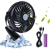 iksee Clip on Desk Fan, Rechargeable Battery Operated Portable Cooling Fan for Home Office Baby Stroller Car Backseat Laptop Travel Outdoors Camping (4.9ft USB Cable)