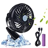 clip fan for car - iksee Clip on Desk Fan, Rechargeable Battery Operated Portable Cooling Fan for Home Office Baby Stroller Car Backseat Laptop Travel Outdoors Camping (4.9ft USB Cable)
