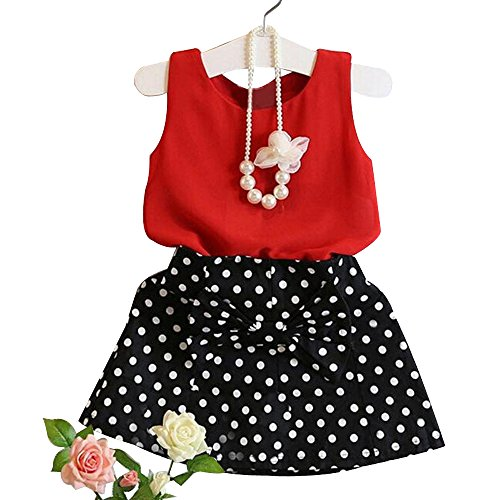 QinYi 3PCs 1-6 Years Girls Clothes Set Children Kids Baby Vest Pleated Dress Chiffon Skirt Suit Outfits (5-6Years, Red) ()