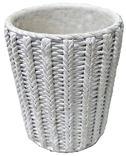 Gold Eagle USA Large Natural Braided Design Cement Pot, 8