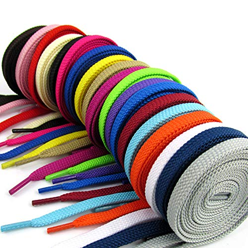JudyStore 20 Pairs Flat Colored Shoelaces for Sneakers Skate Shoes Boots and Sport Shoes (40'' Colored) ()