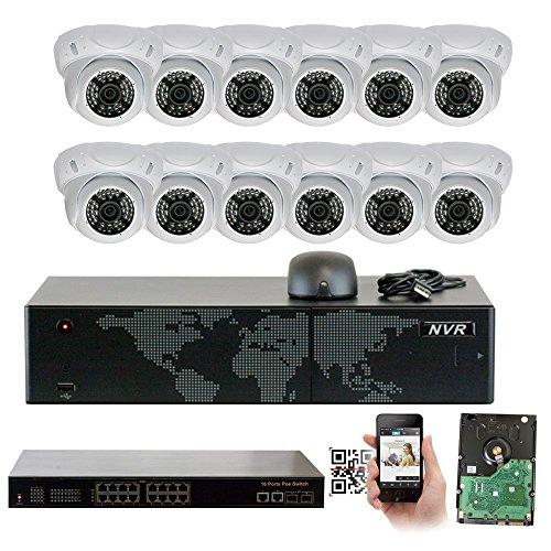 GW Security 16 Channel 5MP NVR 1920P IP Camera POE Home Video Security System - 12 x 5.0 Megapixel (2592 x 1920) Weatherproof Dome Cameras, Quick QR Code Easy Setup, Pre-installed 4TB Hard Drive