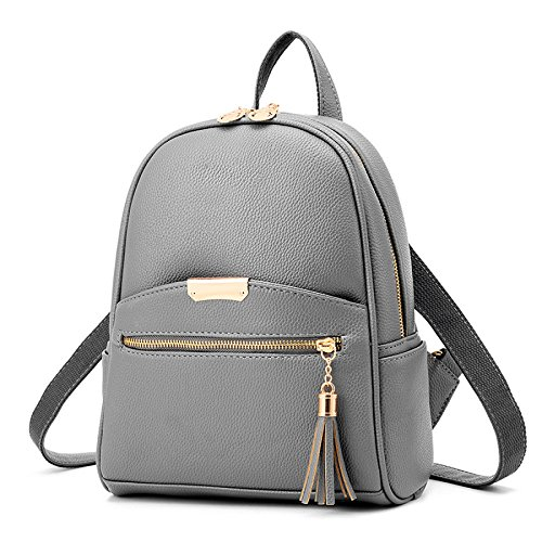 Bag Womens Casual Backpack Travel Winered Gray Leather Myll qgwtTw