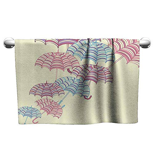 Mannwarehouse Apartment Decor Soft Bath Towel Soft Colored Sized Striped Umbrellas with Handles Weather Protection Graphic W31 x L63 Multi (Weather Kingsley)