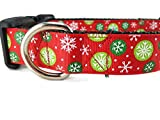 """Christmas Dog Collar, Caninedesign, Snowflakes, Red, Green, 1 inch wide, adjustable, nylon, medium and large (Red Snowflakes, Medium 13-19"""")"""
