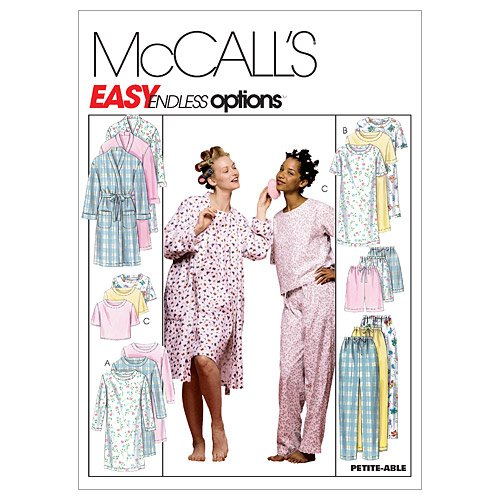 McCall's Patterns M2476 Misses' Robe, Nightgown Or Top and Pull-On Pants Or Shorts, Size Y (SM-MED-LRG) - Vintage Nightgown Patterns