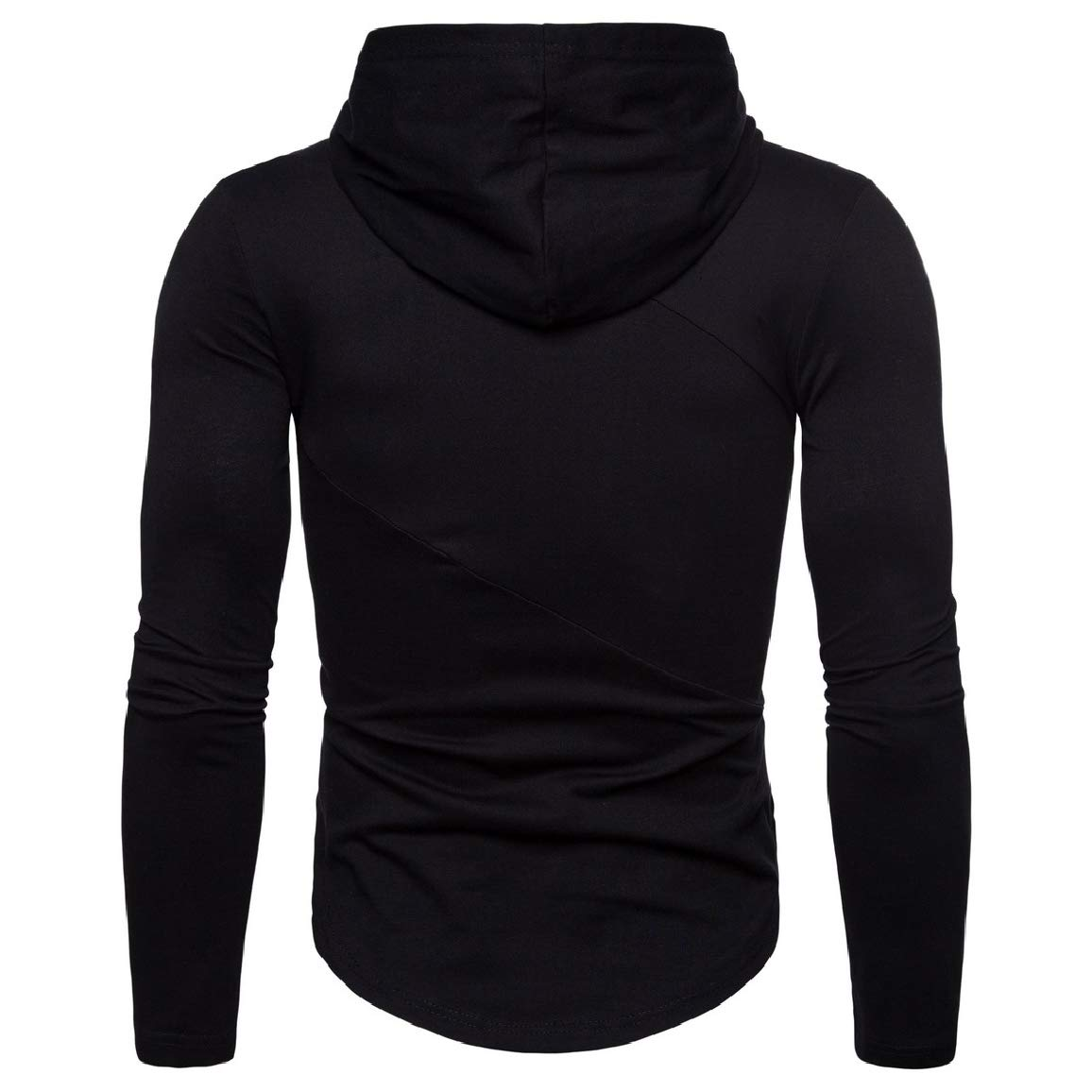 Sayah Mens Hooded Letter Printed Workout Long-Sleeve Pullover Tees Top
