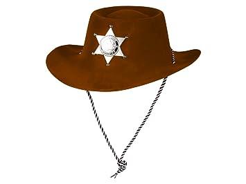 Cowboyhut mit Stern schwarz Kinder Karneval Sheriff