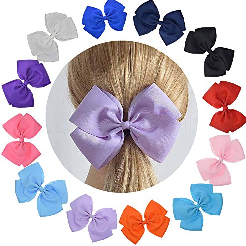LCLHB Cute Extra Large Hair Bow Set With Ruffled Grosgrain Fabric For Women Baby Girls (Giftbox Pack Of 12)