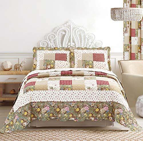 All American Collection Floral Flower Pattern Bedspread and Pillow Sham Set | Matching Curtains Available! (King/Cal King Size)