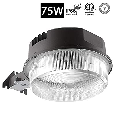 LAISUO Lighting LED Barn Light 75W Outdoor Yard Light 5000K Dusk-to-Dawn Security Light Isolated Power, 9375lm Super Bright Floodlight Waterproof, Photocell Included, ETL- Listed
