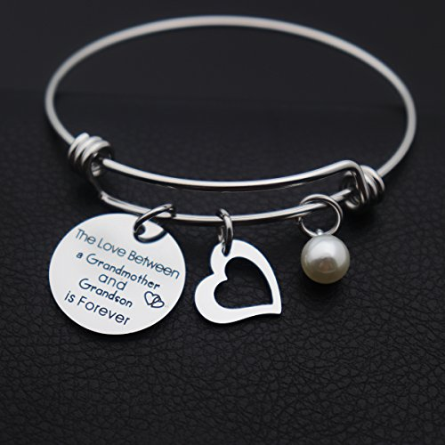 Kingmaruo Grandma Gift The Love Between A Grandmother and Grandson/Granddaughter is Forever Expendable Bangle Bracelet (Grandmother & Grandson) by Kingmaruo (Image #2)