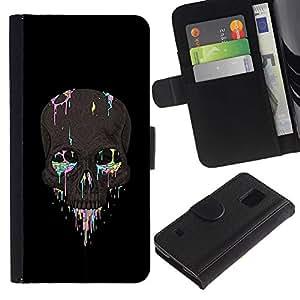Stuss Case / Funda Carcasa PU de Cuero - Colorido Cráneo Negro Gris Pintura Muerte - Samsung Galaxy S5 V SM-G900