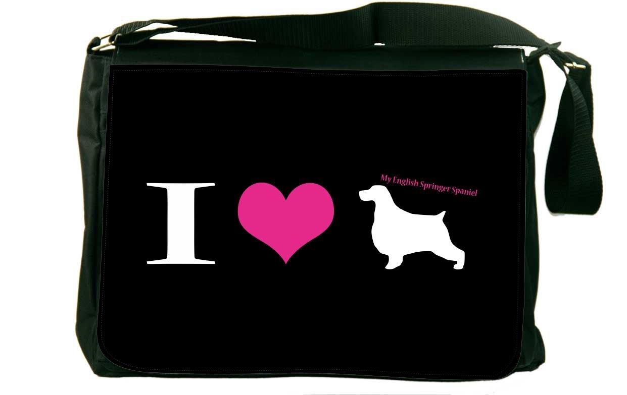Rikki Knight I Love My English Springer Spaniel Dogメッセンジャーバッグスクールバッグ   B01IJC7MJ2