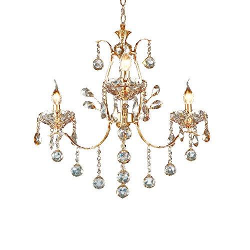 Vintage Golden Teak Crystal Chandelier Lighting Ceiling Light Fixture in Shiny Gold 4 Sizes (3-Light) For Sale