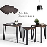 Wood and Metal Coffee Table Coffee Table Set of 3 End Side Table Night Stand Table Nesting Corner Table Stacking Telephone Tea Table Brown Modern Leisure Wood Table With Metal Tube For Living Room Waiting Room Balcony and Office