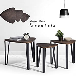 Coffee Table Set Of 3 End Side Table Nesting Corner Table Stacking Tea Table  Brown Modern Leisure Wood Table With Metal Tube For Living Room Waiting  Room ...