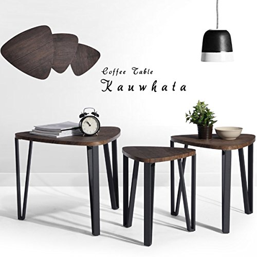 Coffee Table Set of 3 End Side Table Nesting Corner Table Stacking Tea Table Brown Modern Leisure Wood Table With Metal Tube For Living Room Waiting Room Balcony and Office (End Tables And Coffee Table Sets)