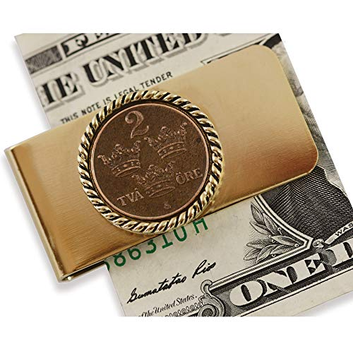 (Coin Money Clip - Sweden ORE Crown | Brass Moneyclip Layered in Pure 24k Gold | Holds Currency, Credit Cards, Cash | Genuine Coin | Includes a Certificate of)
