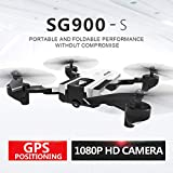 Hisoul SG900-S Foldable Quadcopter Drone 2.4GHz 1080P HD Camera WiFi FPV GPS Fixed Point Drone - One Button Fixed Height/GPS Fixed/Fixed Height/Smart Follow, Round Point Flight, Black, White (B)